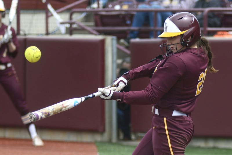 Gophers sophomore Maddie Houlihan hits the ball against Purdue at Jane Sage Cowles Stadium on Saturday, April 30, 2017.