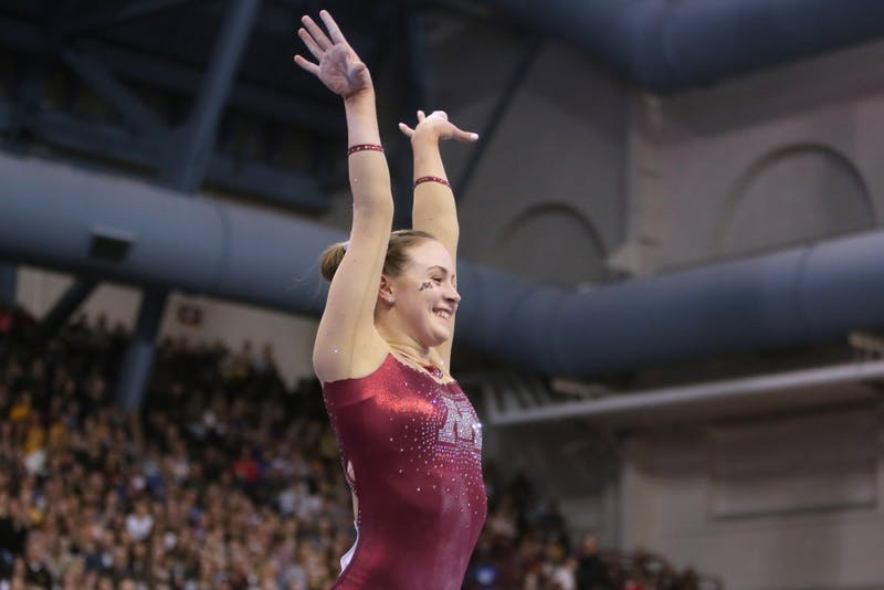 Freshman Lexy Ramler finishes her balance beam routine at the Regional NCAA Gymnastics Championship on Saturday, April 7 in Minneapolis.