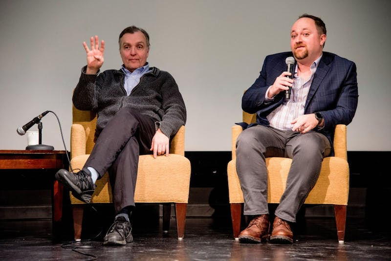 "City counselors Cam Gordon, Ward 2, and Steve Fletcher, Ward 3, answer questions about affordable housing and share bad landlord experiences during a ""Housing Town Hall"" event hosted by the MSA at Coffman Memorial Theater, Wednesday Jan. 31."