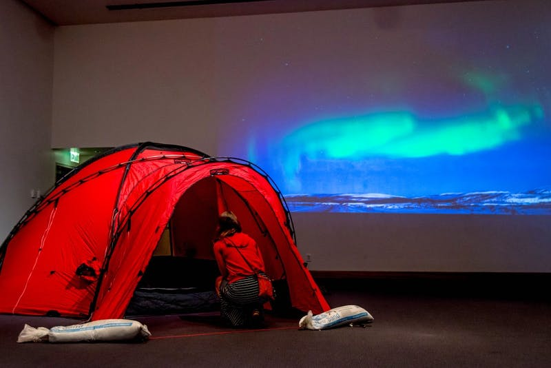 A tent and other supplies used by UMN professor Dr. Aaron Doering and his team to cross the Arctic were on display as part of the Vanishing Ice preview party at the Weisman Art Museum on Friday, Jan. 26.