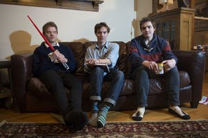 From left, Colin, Evan and Cameron Campbell of The Shackletons pose for a portrait in their home on Tuesday, Jan. 16.