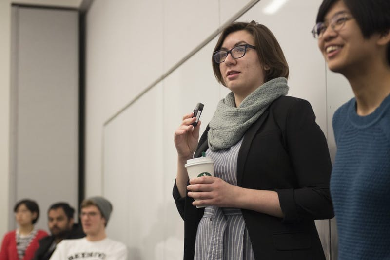 Jessica Schalz  speaks about ways to be an LGBTQIA+ ally in CSE during during a workshop in Bruininks Hall on Thursday, March 8.