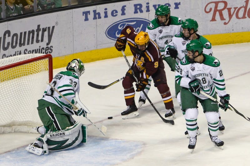 Senior forward Mike Szmatula lines up for a shot on North Dakota's goal on Oct. 20 at the Ralph Engelstad Arena in Grand Forks, North Dakota.
