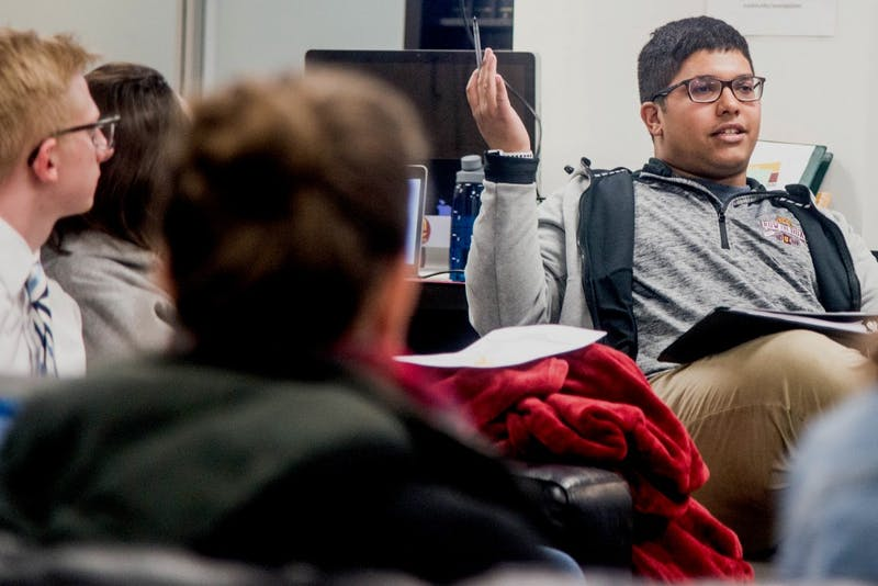 James Farnsworth leads a meeting of Gophers to Washington D.C. in Coffman Union, Tuesday Feb. 27. Farnsworth started a fundraiser and is raising money for UMN students to participate in March for our Lives in Washington DC on March 24.