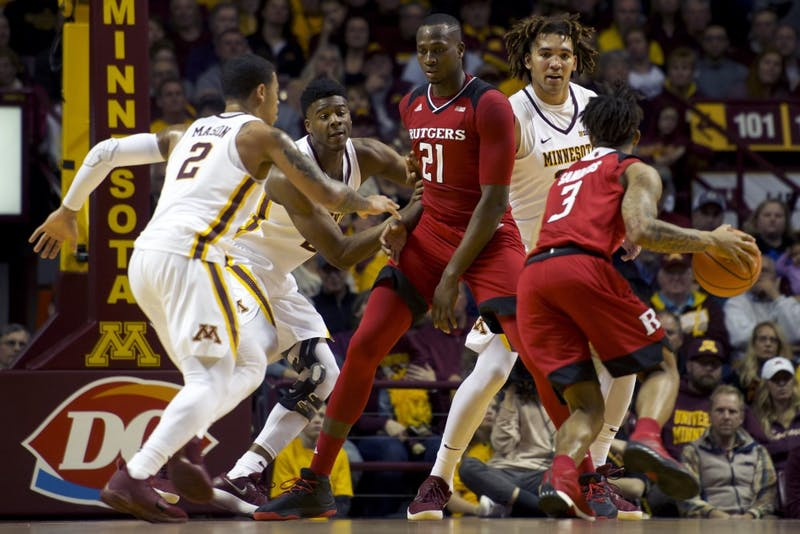 Rutgers guard Corey Sanders dribbles at Williams Arena on Sunday, Dec. 3. The Gophers beat Rutgers 89-67.