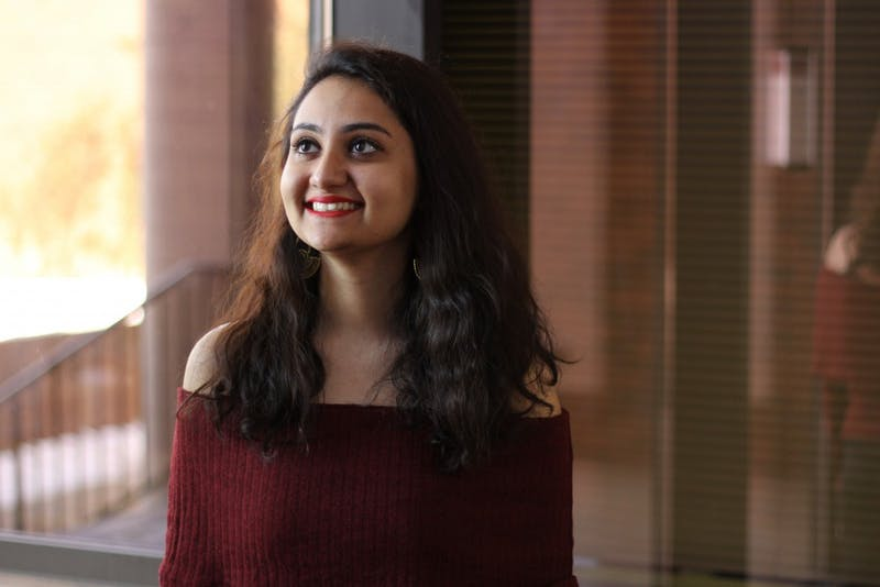Senior and international student Prashasti Bhatnagar poses for portraits in Mondale Hall on Monday, April 9. She won the Josef Mestenhauser Student Award for Excellence in Campus Internationalization.