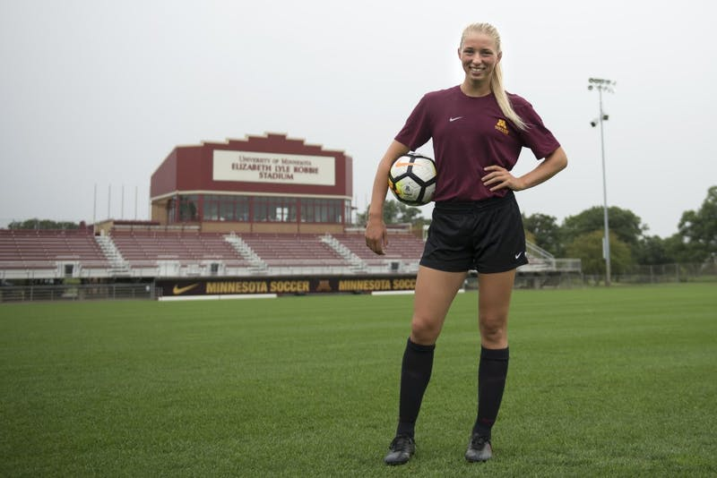 Senior forward Sydney Squires poses for portraits at Elizabeth Lyle Robbie Stadium in St. Paul on Aug. 9, 2017.