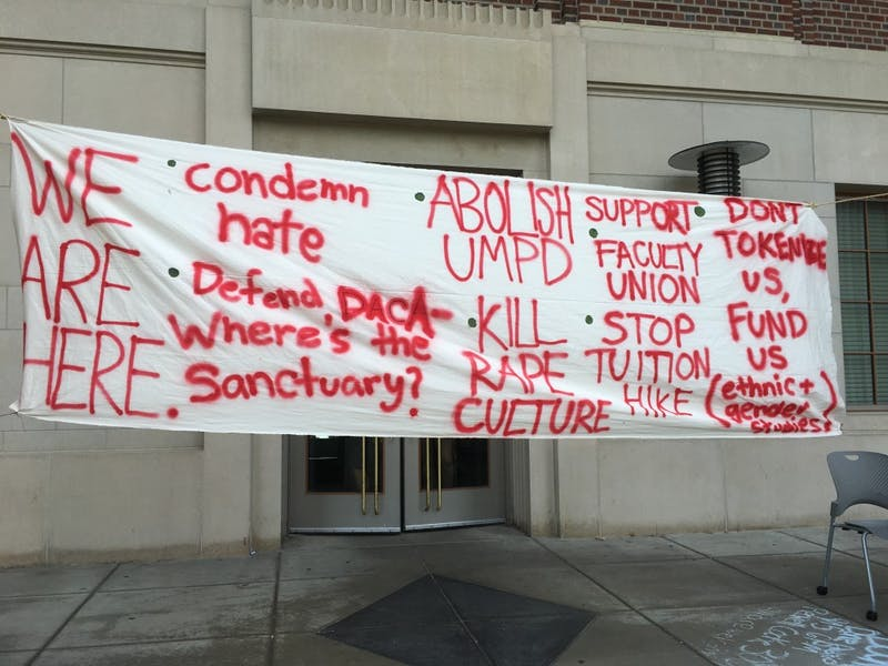 A banner hangs outside Coffman Memorial Union on Wednesday, Sept. 13.