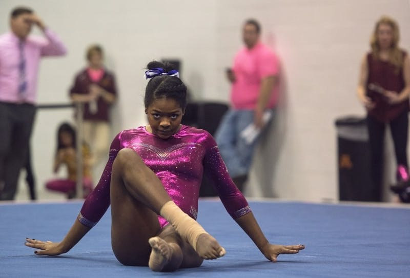 Sophomore Paige Williams performs her floor routine at Maturi Pavilion on Saturday, Jan. 20.