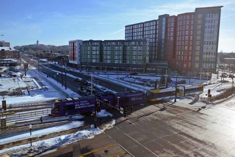 A light rail train departs from the Stadium Village station for downtown Minneapolis on Jan. 15, 2017. Super Bowl ticket holders will board non-stop Green Line trains for US Bank Stadium from the Stadium Village station, which is expected to drive business in the area.