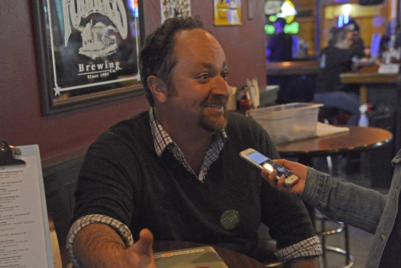 Steve Fletcher speaks with the Minnesota Daily during his Election Day party at Mac's Industrial Sports Bar on Nov. 7.
