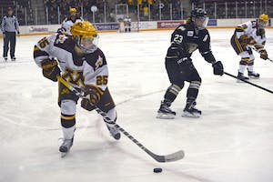 Forward Nicole Schammel skates against Lindenwood Lions on Friday, Sept. 30, 2016 at Ridder Arena. The Gophers won the season-opening game 3-0 against the Lions.