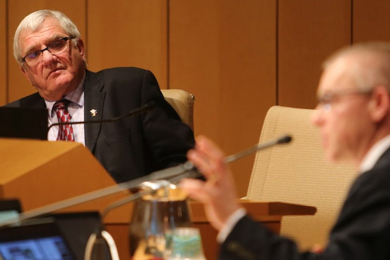 Newly elected member of the Board of Regents Randy Simonson listens to Medical School Dean Jakub Tolar present during a regents meeting on Friday, May 11, 2018 at McNamara Alumni Center. It was Simonson's first meeting.