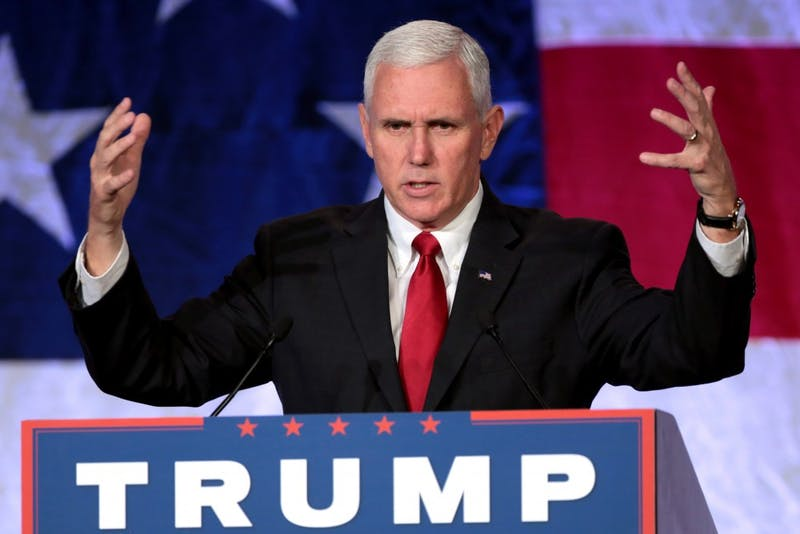 Vice President Mike Pence speaking with supporters at a campaign rally at the Mesa Convention Center in Mesa, Arizona.