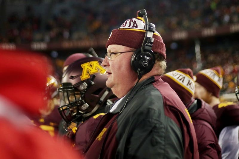 Head coach Tracy Claeys watches the Gophers play their last game of the 2015 season against the University of Wisconsin- Madison on Saturday, where the team lost 31-21 at TCF Bank Stadium.