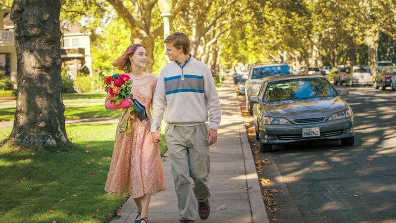"""Saoirse Ronan and Lucas Hedges in """"Lady Bird"""". Photo courtesy of A24"""