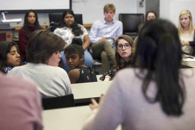 Students met for a Pizza & Policy event at Mondale Hall Thursday, April 26 to discuss gun violence.