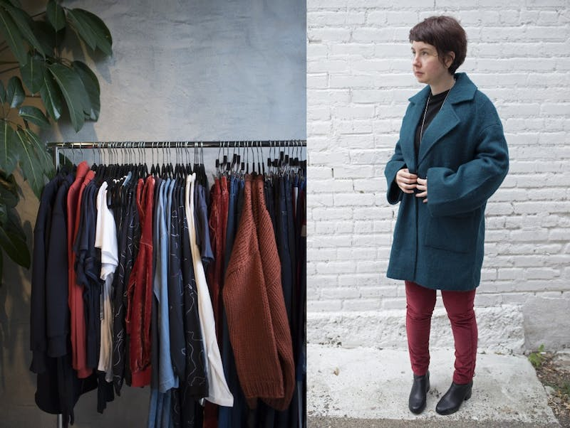 Vanessa Kaczmarek models a fall look at Cliche, a women's boutique in Minneapolis on Friday.