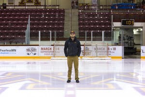 Adam Stirn, lead ice maker for University Facilities Management, poses for a portrait on Thursday, Feb. 1 at Mariucci Arena. Stirn has made ice for the past four years at the University to keep up with the needs of ice hockey practices, games and events that take place in the arenas.