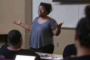 "Irna Landrum presents a seminar on Wednesday, Feb. 14, at Jackson Hall as a part of the Black Student Union's new ""Wellness Wednesdays"". The seminar covered institutionalized racism and how it contributes to peoples' wellness using an arc from the television show ""The Walking Dead."""
