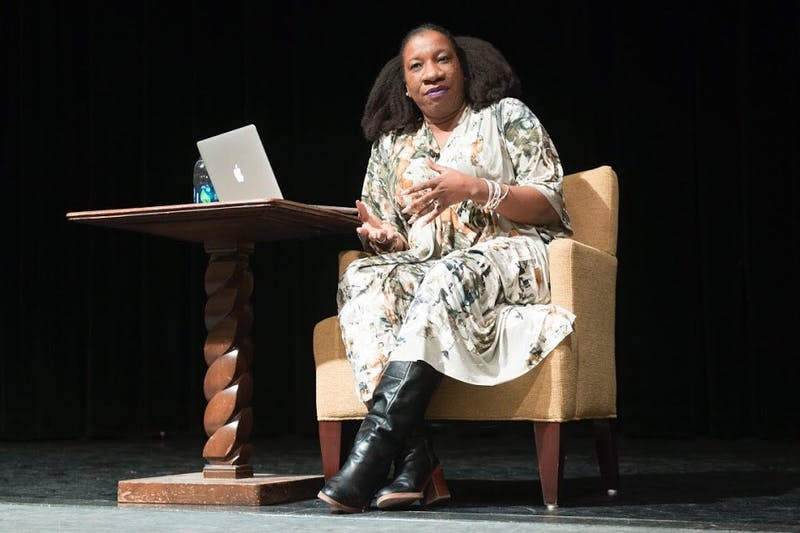 #MeToo founder Tarana Burke speaks to students during her appearance at Coffman Union on Friday, Feb. 16.
