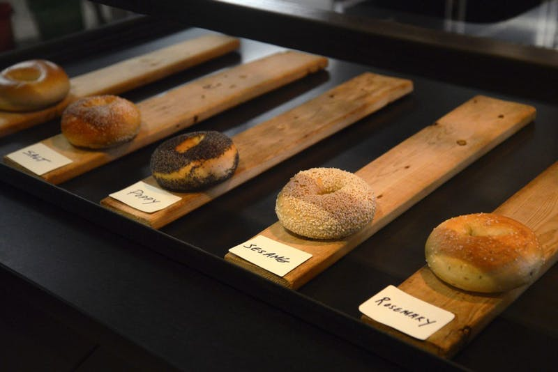 A selection of Bagels on display at Rise Bagel Co. in Minneapolis on Tuesday.