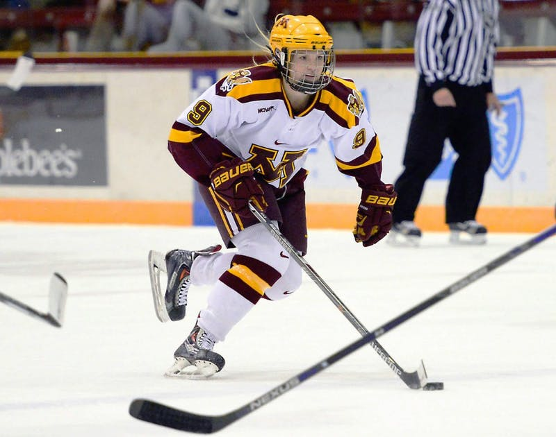 Gophers defenseman Sydney Baldwin maneuvers the puck toward the net at Ridder Arena on Nov. 20, 2015.