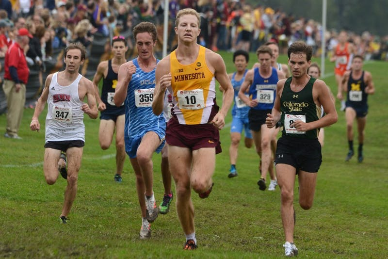 Junior Derek Wiebke runs in the Merrill Fischbein Men's Gold race at the Roy Griak Invitational on Sept. 24, 2016 at Les Bolstad golf course.