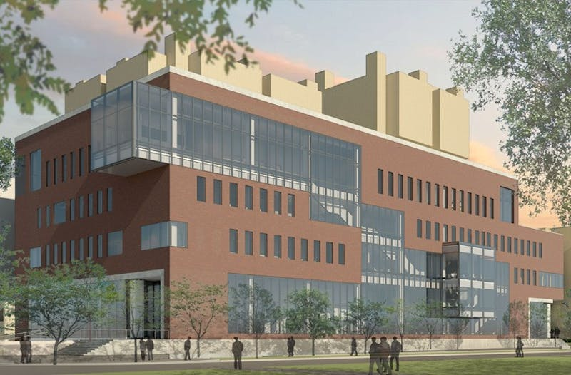 A rendering of the new Health Sciences Education Center which will be located on the corner of Harvard Street Southeast and Delaware Street Southeast.