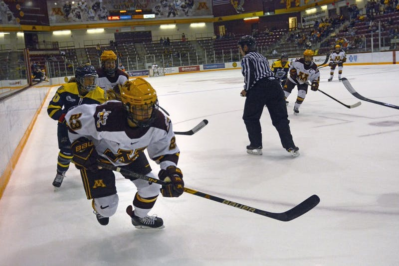 Senior forward Caitlin Reilly skates down the ice at Ridder Arena on Friday, Sept. 29.
