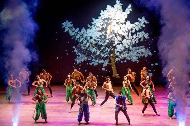 UCSD's Zor performs a series of dances centered around The Giving Tree book and and a brother and sister struggling to cope with loss, at the Orpheum Theater during Jazba 2018 on Saturday, March 3.
