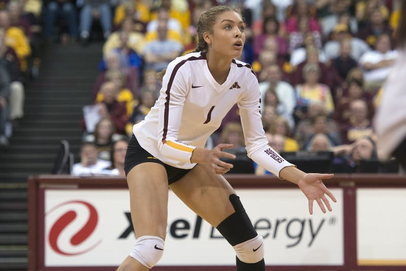 Freshman outside hitter Jasmyn Martin waits for Purdue to return the ball at Maturi Pavilion on Wednesday, Oct. 11.