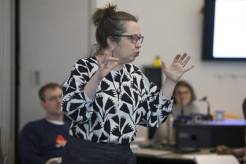 Lecturer Marta Shore addresses false negatives in her graduate level biostatistics course on Monday, Feb. 26 in Bruininks Hall.