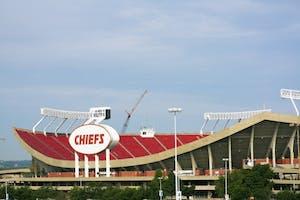 """Kansas City, Missouri, USA - June 1, 2008: Arrowhead Stadium in Kansas City, Missouri. The stadium was built in 1972 and has the capacity of 76000 people. Home to Kansas City Chiefs. Seen spring morning."""