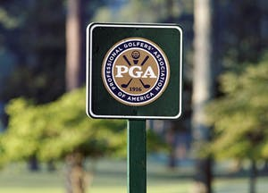 """Johns Creek, Georgia, USA - August 10, 2011: A PGA sign on the golf course of the Atlanta Athletic Club during the 2011 PGA Championship. The PGA Championship is one of professional golf\'s four annual major tournaments."""