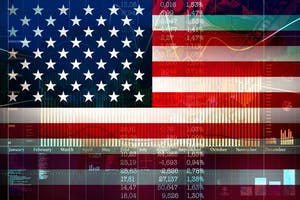Financial concept of growth on the American Stock Exchange.Comparison exchange charts the USA and China.