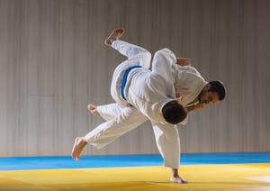 Judo sport training in the sports hall