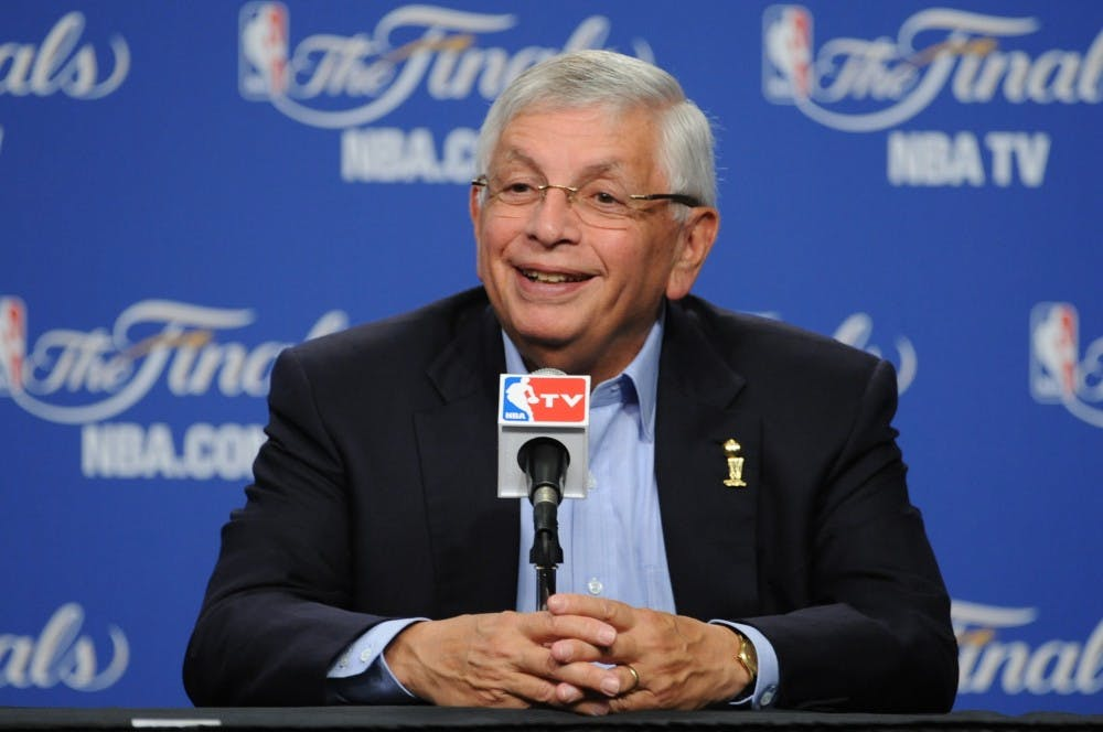 OKLAHOMA CITY, OK - JUNE 12: NBA Commissioner David Stern of does a pre-game pressor prior to Game One of the 2012 NBA Finals at Chesapeake Energy Arena on June 12, 2012 in Oklahoma City, Oklahoma. NOTE TO USER: User expressly acknowledges and agrees that, by downloading and or using this Photograph, user is consenting to the terms and conditions of the Getty Images License Agreement. Mandatory Copyright Notice: Copyright 2012 NBAE (Photo by Garrett Ellwood /NBAE via Getty Images)