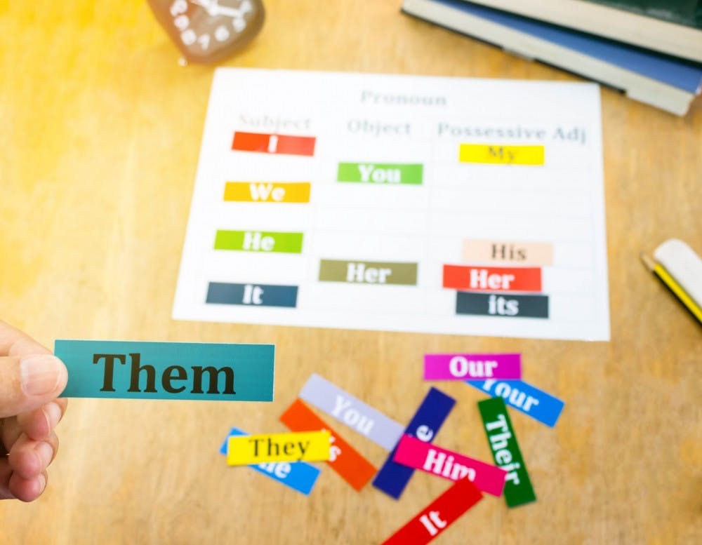 hand holding english word over blur english cards on wooden table