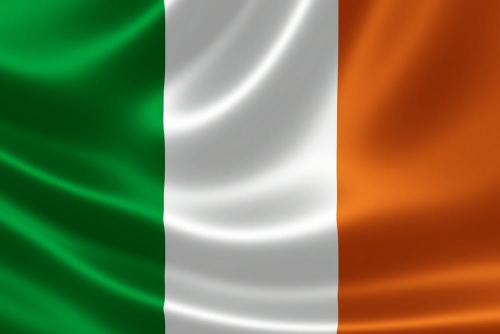 Close-up of the flag of Republic of Ireland on satin texture.