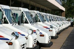 Postal delivery trucks