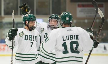 Bobcat players celebrate after a goal during Ohio's game against Davenport on Sept. 3. The Bobcats won 7-3. (FILE)