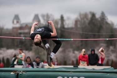 Hannah Bush participates in the high jump during Ohio's Cherry Blossom invitational on Saturday   March 1, 2017.
