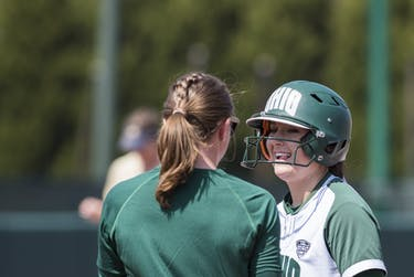 Ohio's Katie Yun sticks her tongue out after hitting a double during the Bobcats' game against Akron. The Bobcats beat the Zips 8-0 in the first game of a doubleheader. (FILE)