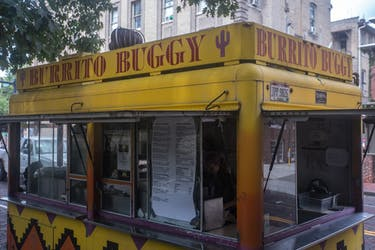 Burrito Buggy sits in its usual spot on East Union Street. The food truck is up for sale. (FILE)