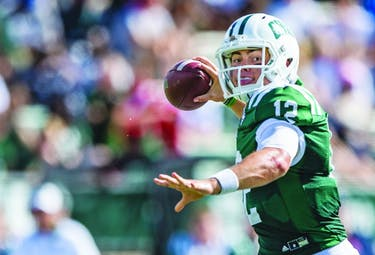 Ohio's Quarterback Nathan Rourke prepares to throw the ball during Ohio's homecoming game against Central Michigan University on October 7, 2017. The Bobcats lost 23-26 (Blake Nissen   Photo Editor)
