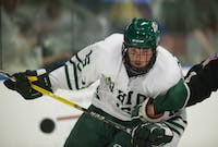 Timmy Thurnau watches the puck as it pops up during Ohio's Green vs. White Scrimmage on Sept. 15. (FILE)
