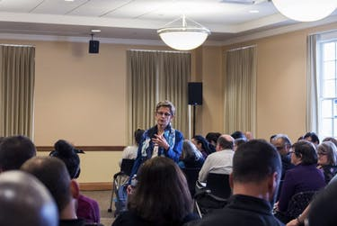 Kathleen Roberts, the current senior advisor to the president for inclusive excellence and Title IX coordinator at Northern Kentucky University and a candidate for the VP for diversity and inclusion position at OU, answers a question from a crowd member at a forum on April 26, 2018.