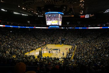 Oracle Arena, the home arena of the Golden State Warriors. (photo via Flickr Creative Commons user Guillaume Meunier)