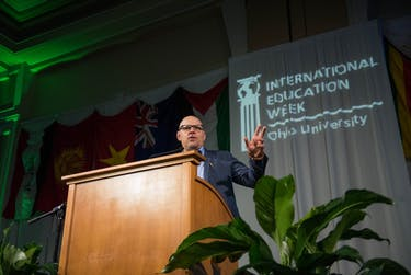 Eric Weiner, the International Education Week Keynote speaker, speaks to a crowd in Baker Ballroom on Thursday, Nov. 16, 2017.